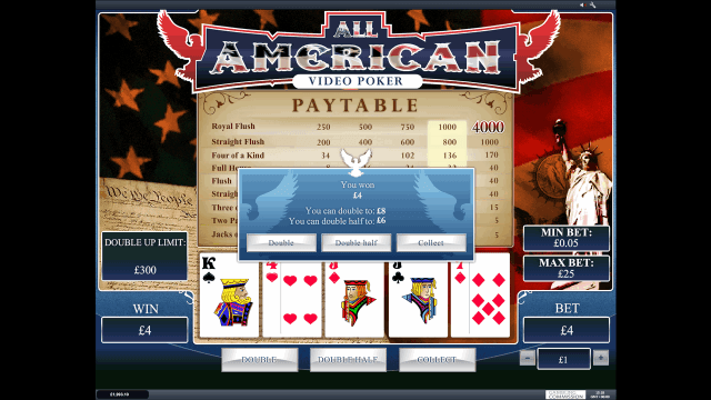 Характеристики слота All American Video Poker 9