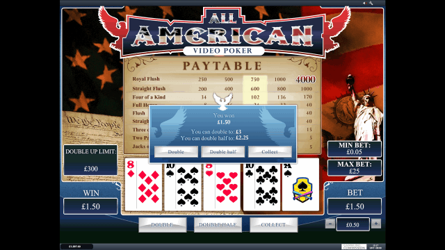 Характеристики слота All American Video Poker 8
