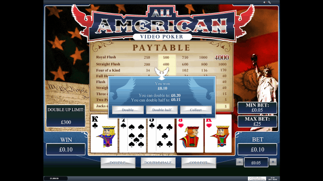 Характеристики слота All American Video Poker 5