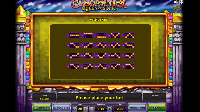 Характеристики слота Cleopatra Queen Of Slots 4